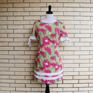 Lilly Pulitzer Floral Shift Dress Sunflower 8